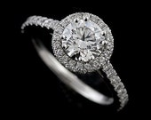Platinum Contemporary Style Diamond Halo Micro Pave Engagement Ring Setting