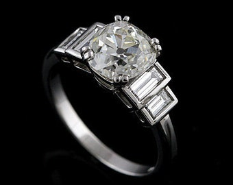 Platinum Diamond Baguettes Engagement Ring Mounting