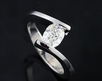 14K White Gold Cushion Diamond Engagement Ring Mounting