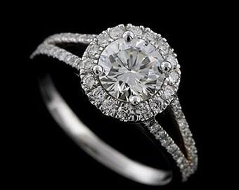 Diamond Halo Split Shank Engagement Ring, Cut Micro Pave Set Diamond Ring, Modern Style Platinum Ring, Proposal Ring Setting For Round Stone