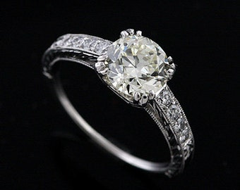 Platinum Vintage Style Hand Engraved Diamond Engagement Ring Setting