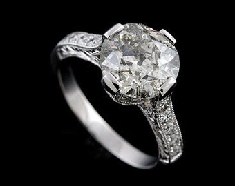 Art Deco Style Hand Engraved Pave Platinum Engagement Ring Mounting