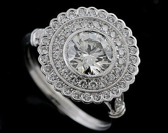 Art Deco Inspired Ring Setting, Flower Double Halo Engagement Ring, Diamonds Filigree Ring, Platinum Ring Mounting For Round Center Stone