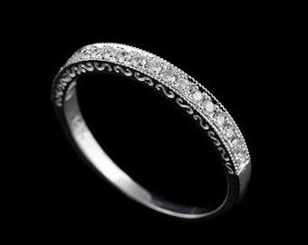 Diamond Wedding Ring, Antique Style Wedding Band, Engraved Wedding Ring, Milgrain Carved Wedding Band, Taper Women's White Gold Band 2.3mm
