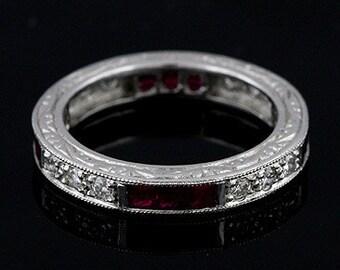 Art Deco Style Platinum Diamond Ruby Wedding Eternity Band Ring 3.6mm Wide
