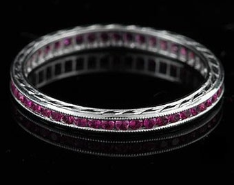 Pink Sapphire Eternity Wedding Ring, Hand Engraved Crafted Platinum Wedding Band, Gemstone Color Stone Milgrain Straight Wedding Ring 2.2mm