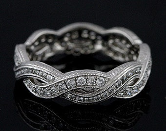 Diamond Eternity Infinity Pave Channel Wedding Band Engraved Sides 18K White Gold 4.3mm Wide