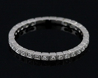 Platinum 950 Art Deco Style Diamond Stackable Eternity Band Ring 1.4mm Wide