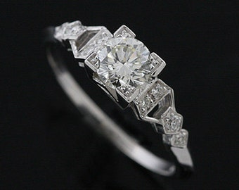 18K White Gold  Antique Style Diamond Engagement Ring Mounting Setting