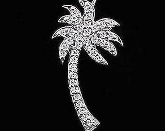 Large Diamond Palm Tree Pendant, Diamond Palm, Tropical Diamond Necklace, Summer Pendant 14K Gold, Conflict Free Diamonds, Cable Chain Palm