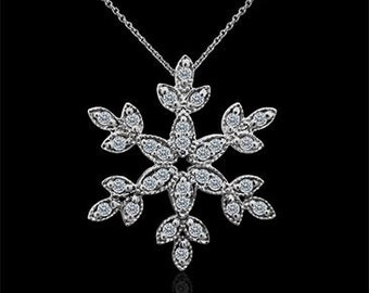 Diamond Snowflake Pendant, Winter Jewelry, Sparkly Snowflake, Christmas Pendant, White Gold Snowflake With Cable Chain, Natural Diamonds