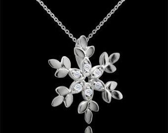 Diamond Snowflake Pendant 14K White Gold No Chain