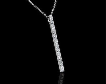 Diamond Journey Stick Pendant, Conflict Free Diamond Necklace, Diamond Contemporary Pendant, Simply Gold Journey Necklace Cable Chain
