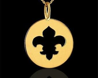 Fleur De Lis Necklace, Cut Out Charm Disc Pendant, Yellow Gold Disc Necklace, Flowers Of The Lily Necklace, Cable Chain Necklace