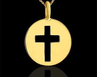 Cross Disc Charm Pendant Necklace 14K Yellow Gold