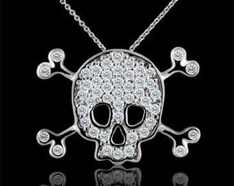 Diamond Skull and Bones Pendant Necklace 14K White Gold