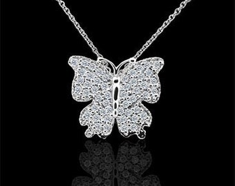 Diamond Butterfly Necklace, Animal Necklace, Large Gold Butterfly Pendant, Conflict Free Diamond Butterfly, Cable Chain Necklace