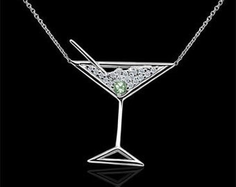 Diamond Martini Glass Pendant, Green Peridot Necklace, Gold Gemstone Martini Glass Necklace, Martini Lovers Gift, Cable Chain, Conflict Free