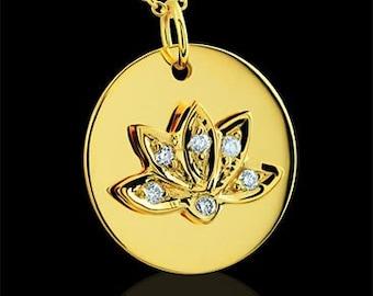 Diamond Lotus Buddhist Symbol 14K Yellow Gold Pendant