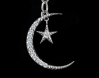 Diamond Crescent Moon and Star Pendant 14K White Gold