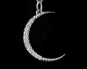 Diamond Moon Necklace, White Gold Crescent Moon Pendant, Gold Diamond Moon Jewelry, Cable Chain With Lobster Clasp Moon Necklace