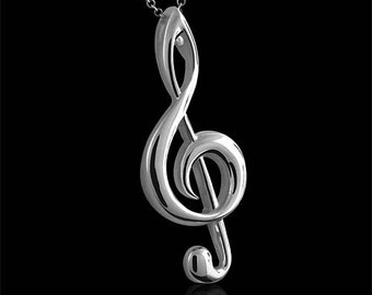 Designer Music Treble Clef Pendant Necklace Silver