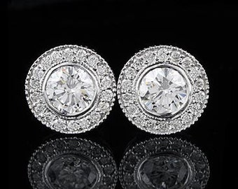 1.30Ct Round Diamond Stud Earrings 14K White Gold