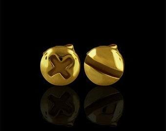 Screw Studs Post Earrings 14K Yellow Gold