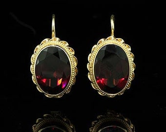 Antique Style Garnet Earrings 14K Yellow Gold