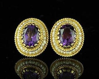 Victorian Style Amethyst Earrings 14K Yellow Gold