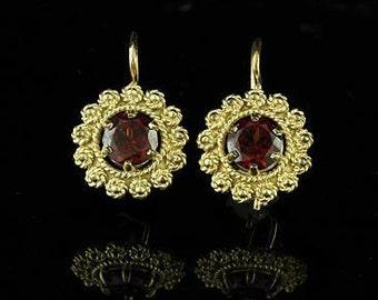 Vintage Style Garnet Earrings 14K Yellow Gold