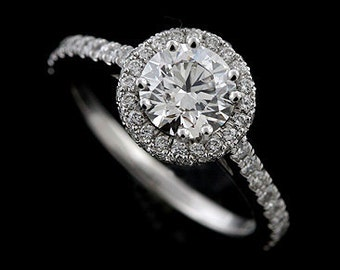 Diamond Halo Engagement Ring Setting, Cut Down Micro Pave Diamond Ring, Half Way Diamond Proposal Ring, Contemporary Style Platinum Ring