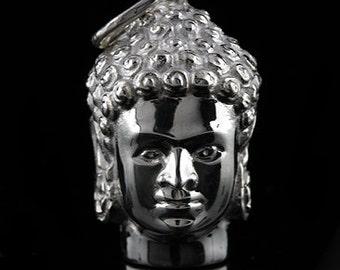 Designer Buddha Head Buddhist Symbol Silver Pendant