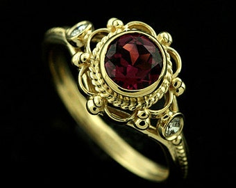 Pink Tourmaline Engagement Ring, Victorian Diamond Bezel Ring, Filigree Twisted Design Anniversary Ring, Vintage Style 18K Yellow Gold Ring