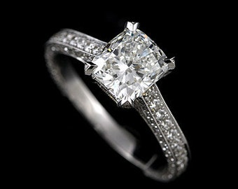 18K White Gold Vintage Cushion Cut Moissanite and Diamonds Engagement Ring