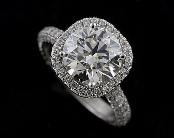 Platinum Round Diamond Pave Halo Engagement Ring Mounting
