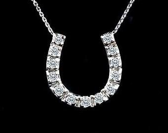 Diamond Horseshoe Necklace, Lucky Diamond Horseshoe Pendant, Good Luck Symbol Necklace, Lucky Charm Gold Pendant, Cable Chain Horseshoe