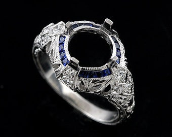 Victorian Princess Cut Sapphire Ring, Diamond Hand Carved Engagement Ring, Engraved Milgrain Antique Style Ring, 18K White Gold Ring Setting