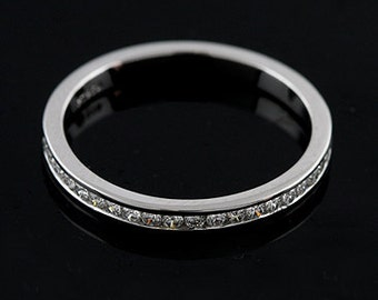 Diamond Wedding Ring, Channel Set Diamonds Band, Half Way Wedding Band Ring, Classic Women's Wedding Ring, Conflict Free Diamond Ring  Band