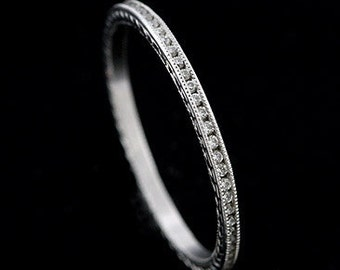 Engraved Vintage Style Platinum Diamond Eternity Wedding Band Ring 1.4mm Wide