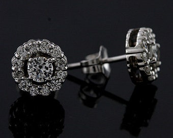Round Diamond Halo Style Stud Post And Push Back Earrings 14K White Gold