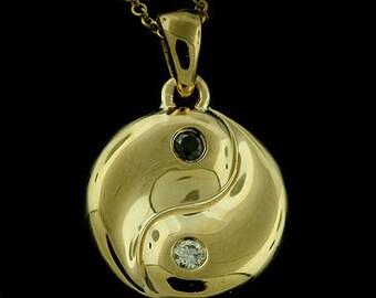 Yin Yang Baby Charm Diamond Pendant Necklace 14K Yellow Gold