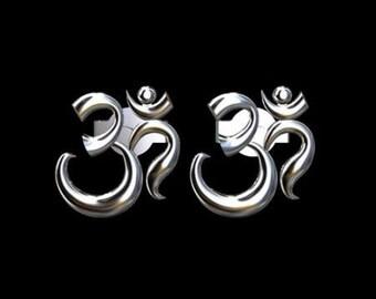 OM AUM Post Earrings Sterling Silver