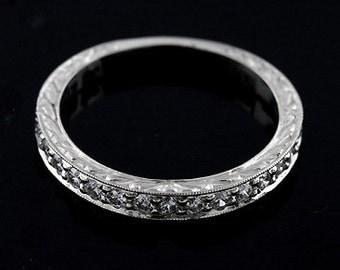Diamond Women's Wedding Ring, Engraved Wedding Band, Art Deco Milgrain Wedding Ring, Vintage Style Wedding Ring, Flat Half Way Wedding Ring