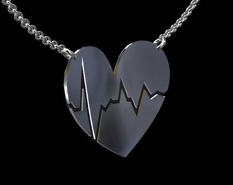 Heart Beat Necklace, Gold Love Sign Pendant, Black Painting Heart Pendant, Valentines Day Gift, Love Gold Charm Pendant, Gift For Loved One