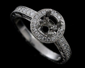 Art Deco Halo Engraved Engagement Ring, Micro Pave Set Diamond Ring, Hand Milgrain Carved Design Ring, Vintage Style Platinum Ring Mounting