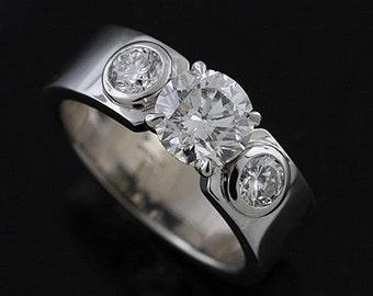 14K White Gold Bezel Set Diamond Modern Style Engagement Ring Mounting