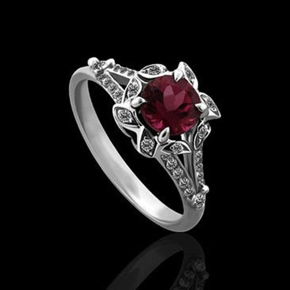 Vintage Style Flower Diamond Pave Pink Tourmaline Engagement Ring 14K White Gold