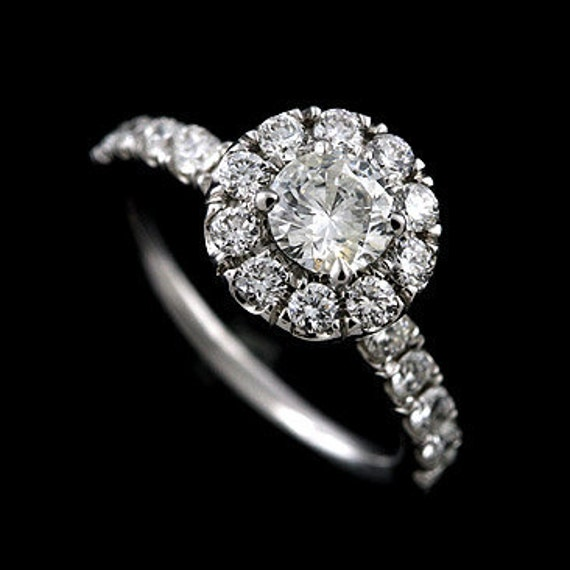 SALE 30% OFF 1.20Ct Diamond Engagement Ring 14K White Gold