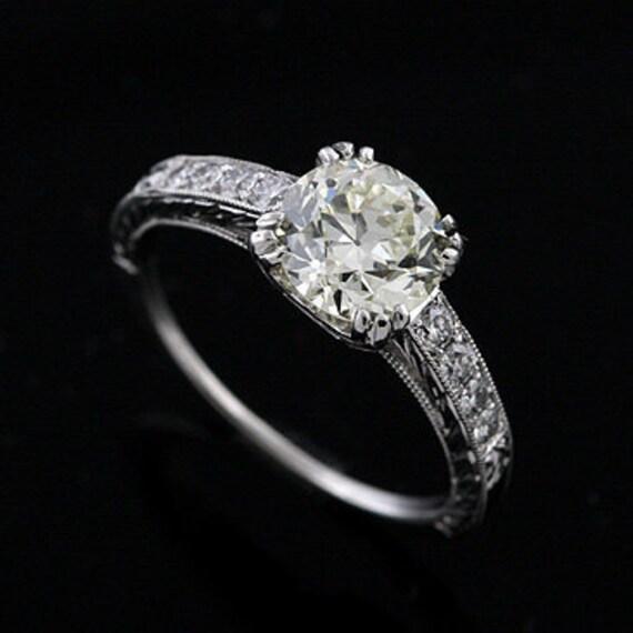 Platinum Vintage Style Hand Engraved Diamond Engagement Ring Setting